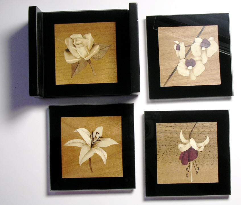 Marquetry Coasters with Floral designs