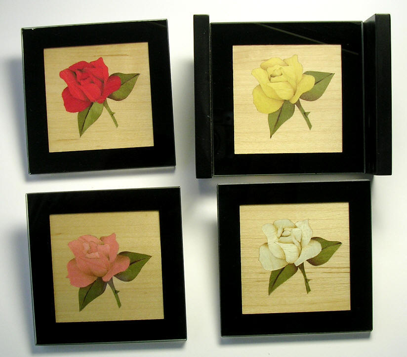 Marquetry Coasters with Rose designs